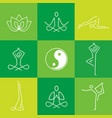 yoga line art green icons vector image vector image