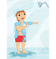 Young Boy Having Shower