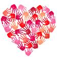 Hand print heart vector image