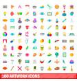 100 artwork icons set cartoon style vector image vector image
