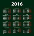 2016 calendar simple design art date color vector image vector image
