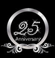 25th anniversary silver diamond vector image