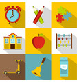 back to school icon set flat style vector image vector image