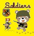 bear and mice cute soldier cartoon