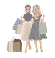 beautiful woman go shopping with bags and feeling vector image vector image