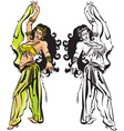 belly dance with veil vector image