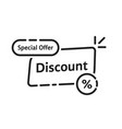 black linear discount label icon vector image vector image