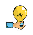 businessman hand with bulb idea inspiration vector image