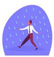 businessman running under rain unprotected rainy vector image vector image