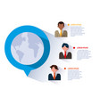businessmen with infographic and planet earth vector image vector image