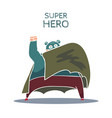 cartoon hand drawn super hero character with cloak vector image