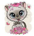 cartoon kitten with flowerson a white background vector image vector image