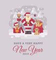 cheerful santa claus with cute puppies christmas vector image