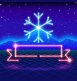 christmas card with 80s neon snowflake and ribbon vector image vector image