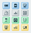 computer icons set with gamepad cpu fan paper vector image vector image