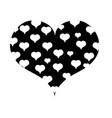 contour hearts design inside big heart decoration vector image vector image