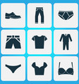 dress icons set with pants shorts suit and other vector image