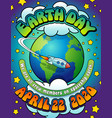 earth day 2020 psychedelic poster banner card vector image vector image