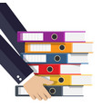 files in hand ring binders vector image