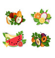 fruits and berries composition set vector image vector image