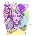 girl symbolizes the zodiac sign capricorn pastel vector image vector image