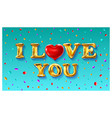 gold letter love balloons valentines day i love vector image vector image