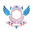 graphic winged emblem created with ancient crown vector image vector image