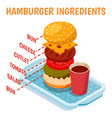 Hamburger ingredients isometric composition