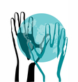 hand and earth vector image vector image