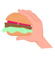 hand holding fatty burger with meat and vegetables vector image vector image