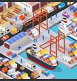 isometric port cargo ship cargo seaport at sea vector image vector image