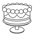 line art black and white birthday cake on stand vector image vector image
