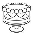 Line art black and white birthday cake on stand