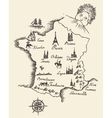 Map of France vintage engraved sketch vector image vector image