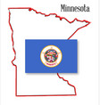 minnesota state map and flag vector image vector image