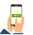 mobile app concept hand holding mobile vector image