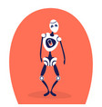 modern discharged robot standing pose bot helper vector image vector image