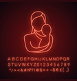 mother holding newborn baby neon light icon vector image