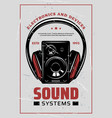 music headphones and hi-fi systems retro poster vector image