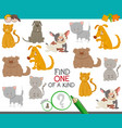 one of a kind game with dogs and cats vector image vector image