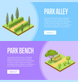 park landscape design isometric posters vector image vector image