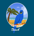 parrot paradise beach banner vector image vector image