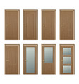 realistic different closed brown wooden vector image vector image