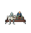 robot reads morning newspaper a drunk man vector image vector image