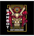 samurai robot head mascot logo vector image