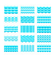 seamless gradient blue water wave tiles set for vector image vector image