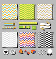 set of colorful chevron background square cards vector image vector image