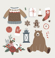 set of cute christmas animal lifestyle and food vector image