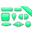 set of green glass buttons with metal frame vector image vector image