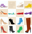 Set of icon women shoes in flat style vector image vector image